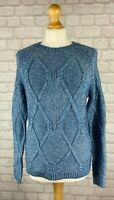 Fatface Women's Blue Cable Knit Jumper Sweater Size 8