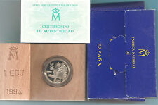 ESPAÑA - MONEDA 1 ECU 1994 PROOF PLATA CERVANTES Y DON QUIJOTE