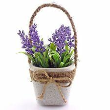 1x Lavendel im Topf Kunstpflanze Kunstblume Zierpflanze Küchendeko mit Juteseil
