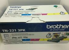 Genuine BrotherTN221 3PK Standard-Yield Toner Three Pack open Box NEW - UNUSED