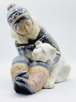 Lladro Large Gres Figurine ESKIMO BOY WITH POLAR BEAR CUB #2097 Retired Mint