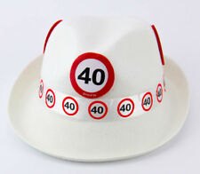 40TH BIRTHDAY WHITE TRILBY TRAFFIC SIGN AGE PARTY