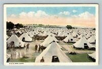 A US Army Camp, White Tents, Soldiers, Military Vintage Postcard