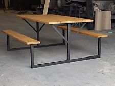 Dining Table And Benches. Rustic, Picnic bench style, vintage,