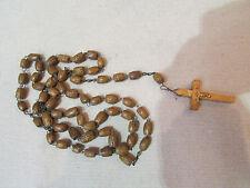 ancien grand chapelet en bois croix christ crucifix 5 dizaines