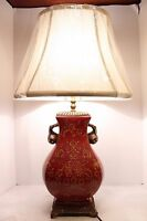 Red Porcelain Vase Lamp Chinoiserie Floral Pattern Antiqued Brass Accent w Shade