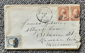 1886 2c pair+1c James Gibson Attorney at Law Woodland to Missouri