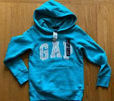 NEW Gap Kids Girls Logo Fleece lined Sweatshirt Turquoise Hoodie Size M 8-9 Yrs