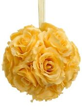 "6"" Artificial Rose Kissing Ball Yellow (pack of 6) Silk Flower Decor wedding NEW"