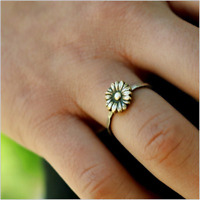Vintage 18K Yellow Gold Sunflower Wedding Ring Fashion Women Engagement Jewelry