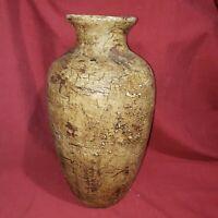 "Vtg Heavy Pottery Clay Vase Jug crazed finish Glaze inside 13"""
