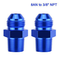 2PC 3/8 NPT to 8AN Adapter Straight Pipe Thread to 8 AN Flare Fitting Aluminum