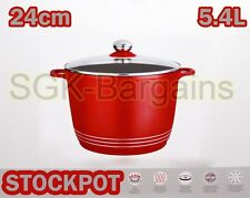 RED INDUCTION BASE HOB DIE CAST STOCK STEW COOKING POT STOCKPOT GLASS LID 24CM