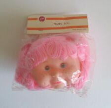 Vintage Zim's Plastic Girl Toy Doll Head Pink Hair Freckles Cheeks Red Parts