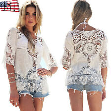 Boho Women Lace Crochet Hollow Out Beach Cover Up Half Sleeve Blouse Top T-Shirt