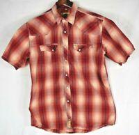 Larry Mahan Men's XL Short sleeve pearl snap shirt coral plaid Western