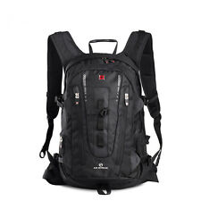 Swisswin Nylon Men's Black Large Capacity Backpack Laptop Backpack