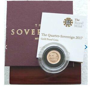 Rare 2017 Royal Mint Pistrucci Gold Proof Quarter Sovereign - Box & COA
