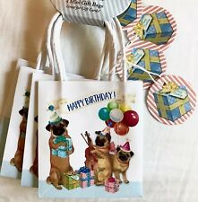 Punch Studio 4 Mini Gift Bags Pug Party Glitter Embellished Dogs