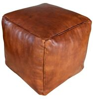 Square Moroccan Leather Pouf Honey Brown - Delivered Stuffed, Ottoman, Footstool