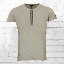 Rusty Neal Vintage T-Shirt Mit Knopfleiste grau Männer Tshirt