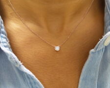 CUBIC ZIRCONIA SOLITAIRE NECKLACE ROSE GOLD PLATED STERLING SILVER 925 0.75CT