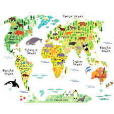 PVC DIY Animal World Map Wall Sticker  Kids Room Decal Gift Removable Home Decor