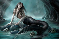 Framed Print - Gothic Style Mermaid with Human Skulls (Picture Poster Grim Art)