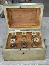 1800'S ANTIQUE HAND CARVED BRASS GLASS PERFUME BOTTLE BOX WITH 6 BOTTLES