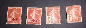 Lot de 4 timbres Croix Rouge 1900 YT 146 et 147 Variétés