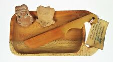 Carved Wood Butter Dish Tray Knife Souvenir Patagonia Argentina Clay Tribal