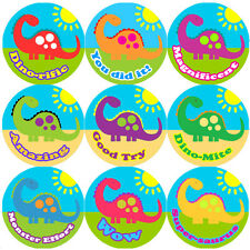 144 Big Colourful Dinosaur 30mm Children's Reward Stickers for Teacher, Parent,