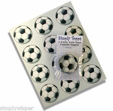 12 Fútbol De Papel De Arroz Cupcake Decoración Toppers Precortada 40mm Cumpleaños Pastel