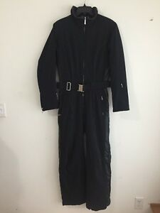 DESCENTE One-Piece Snowmobile Snow Suit Black w/Faux Leather Trim Women's Size 8