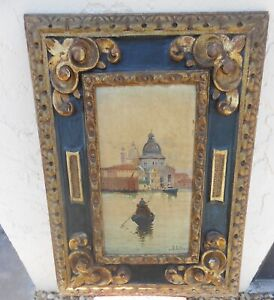 Antique Italian Venetian Waterfront Painting In Hand Carved Frame Signed Mystery