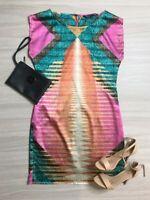 Charlie Brown Multi Coloured Shift Dress Size 8 Sleeveless Silk Like Fashion