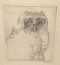 ORIGINAL OLD  HAND SIGNED OWL ETCHING #2