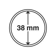 Capsules rondes 38mm, pour pièces de monnaie. Paquet de 10.