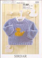 Sirdar Snowflake DK Knitting Pattern 3999 Ducky Sweater Babies & Toddlers NB-2yr