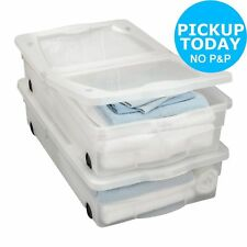 Set of 2 Rolling Underbed Storage Box Wheels Linen Towels Large Drawers Plastic
