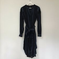Country Road Womens Dress, Size 10, Midi Striped Shirt Dress Belted Navy Blue