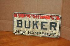 New Hampshire License Plate Single 1963 BUKER White Green Used Photoscenic