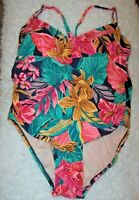 Kona Sol One Piece Vivid Tropical Swimsuit 18W Laced Up Back Medium Coverage