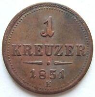 Österreich 1 Kreuzer 1851 E in VORZÜGLICH !!!