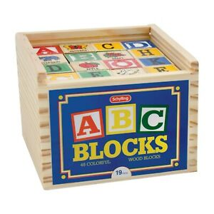 ABC Wooden Alphabet Blocks set of 48 Letters Numbers Pictures Words Schylling AB