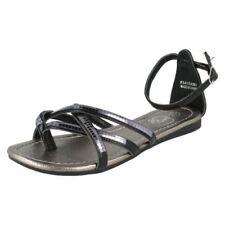 Sandalias y chanclas de mujer planos de color principal negro de piel sintética