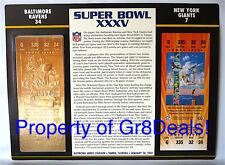 SUPER BOWL 35 ~ RAVENS vs GIANTS ~ NFL 22 KT GOLD SB XXXV TICKET Willabee & Ward