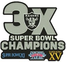 """OAKLAND L.A. RAIDERS PATCH 3X NFL SUPER BOWL CHAMPIONS! LAS VEGAS 7 3/4"""" X 7"""""""