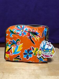 Retired Consuela Medium Cosmetic Bag Orange Coated Canvas