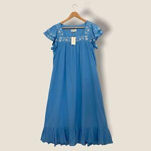 Aspiga Carella Embroidered Organic Midi Dress Blue M